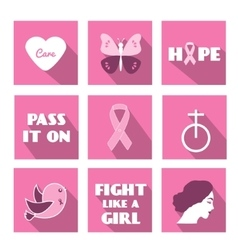 Breast cancer awareness month flat icons vector