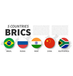 brics association 5 countries flat simple vector image