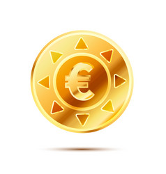 bright glossy golden coin with euro sign on white vector image