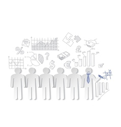 Business charts teamwork and team outsider vector image