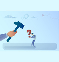 business man hand hitting question mark with vector image