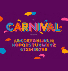 carnival font and alphabet hand lettering vector image