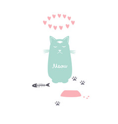 cartoon cat in after meal meditation vector image