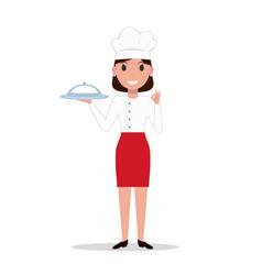 cartoon chef cook woman vector image vector image