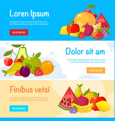 cartoon fruits banners colorful fresh food vector image