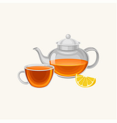 cartoon glass teapot and cup with fresh brewed tea vector image