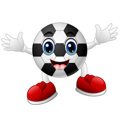 cartoon soccer ball raising his hands vector image
