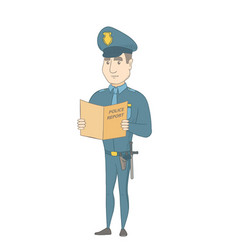 caucasian police officer holding a police report vector image