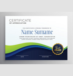 Certificae template design with blue green wave vector
