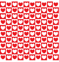 checkered pattern with hearts vector image