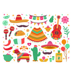 cinco de mayo guitar party isolated mexican vector image