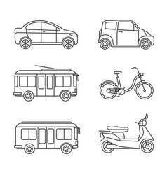 city transport thin line icons vector image