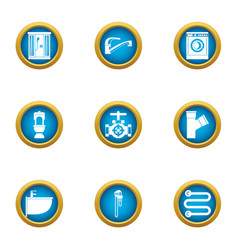 Clean pipe icons set flat style vector