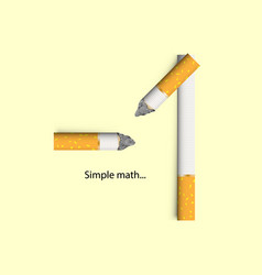 concept for cigarettes a simple math of nicotine vector image
