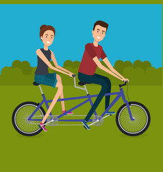 Couple with bicycle in the landscape vector