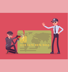 Credit card hacking crime vector
