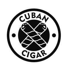 cuban fresh cigar logo simple style vector image