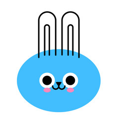 cute bunny face funny rabbit isolated on white vector image