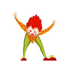 cute clown cartoon character performing at vector image
