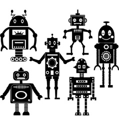 cute robot silhouette collections vector image