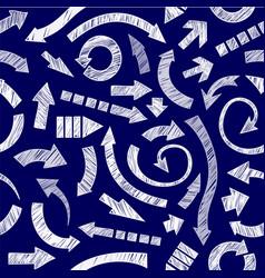 Dark blue hand drawn arrows vector