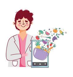 dietitian doctor fresh market smartphone offering vector image