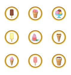 Different ice cream icons set cartoon style vector
