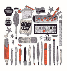drawing accessories color set vector image