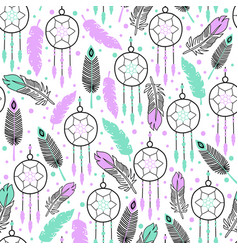dream catchers feathers seamless ethnic vector image