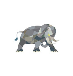 Elephant Attacking Side Low Polygon vector image