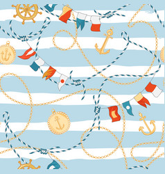 fashion seamless pattern with golden chains anchor vector image
