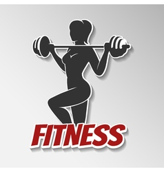 Fitness Girl with barbell vector image