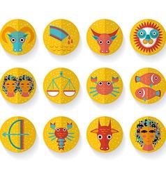 Flat design modern orange zodiac sign set Isolated vector image