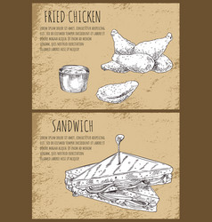 Fried chicken and sandwich fast food graphic art vector