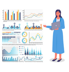 girl with laptop points to large set bar chart vector image
