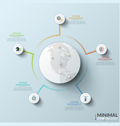 Globe with map marks surrounded 5 paper white vector