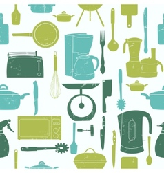 Grunge Retro seamless pattern of kitchen too vector image vector image