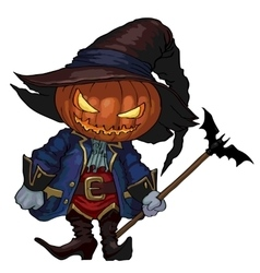 Halloween Jack-o-lantern in a hat and costume vector image