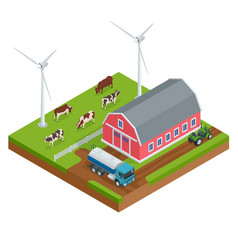 Isometric organic farm field or dairy farm vector