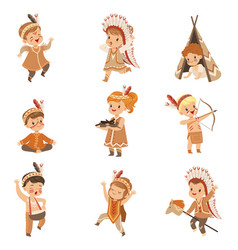 Kids in native indian costumes and headdresses vector