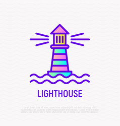 Lighthouse in the sea thin line icon vector