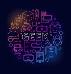 Linear colorful geek vector