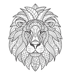 Lion coloring for adults antistress hand drawn vector