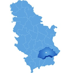 Map of Serbia Subdivision Jablanica District vector