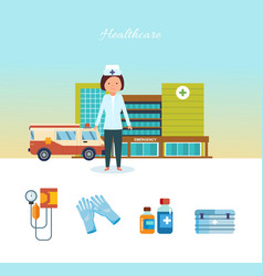 Medical worker healthcare hospital building vector