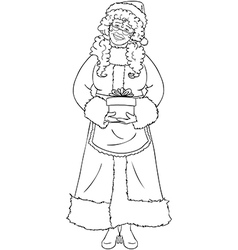 Mrs Santa Claus Holding A Present For Christmas vector image