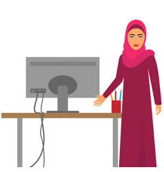 muslim woman at work arab business character at vector image