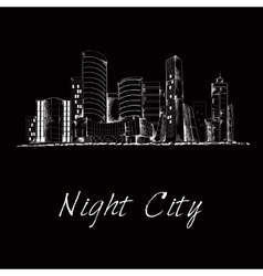 Night city skyline sketch vector image