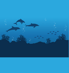 Ocean landscape with dolphin and fish vector