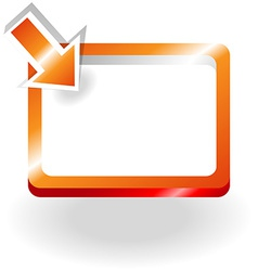 Orange sign with pointing arrow vector
